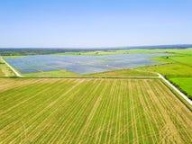 Solar farm aerial in Austin, Texas, USA Royalty Free Stock Photo
