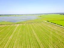 Solar farm aerial in Austin, Texas, USA Stock Photo