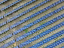 Aerial view of a solar farm producing clean renewable sun energy stock photo