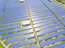 Aerial View of Solar Panel Farm Royalty Free Stock Photography