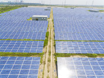 Aerial View of Solar Panel Farm Stock Photography
