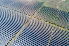 Solar power station. Aerial view of solar power panels in clean energy generating station stock image