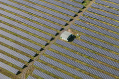 Aerial view of solar power plant Stock Photos