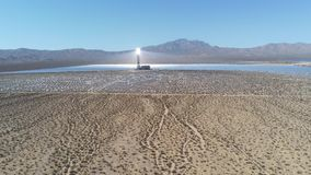 Aerial view of the solar tower of the Ivanpah Solar Electric Generating System