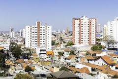 Aerial view of some buildings and houses in Sao Paulo, Brazil.  Royalty Free Stock Image