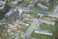 An aerial view of some damage. Caused by Hurricane Andrew Royalty Free Stock Photography