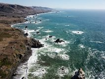 Aerial View of Sonoma Coastline in California Stock Image