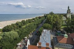 Aerial view of Sopot seaside at the Baltic Sea Royalty Free Stock Photos