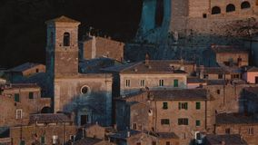 Aerial view of Sorano, Grosseto, Tuscany, Italy. Landscape at the sunset of the medieval village on the hill.  stock video footage