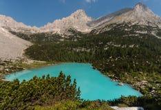 Aerial view of Sorapiss lake in Dolomites Royalty Free Stock Image