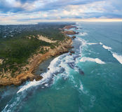 Aerial view of Sorrento Back Beach and coastline at sunrise. Mor Stock Photo