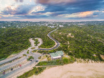 Aerial view of Sorrento Back Beach with winding road and All Smi Royalty Free Stock Photography