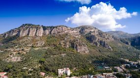 Aerial view of Sorrento city, Italy, street of mountains old city, tourism concept, sea, Napoli, Europe vacation stock image
