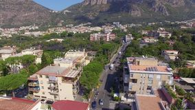 Aerial view of Sorrento city traffic, transpotation Italy, street of mountains old city, tourism concept, sea, Napoli, vacation stock video footage