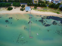 Aerial view of Sorrento Long Pier and The Baths Restaurant. Morn Royalty Free Stock Photos