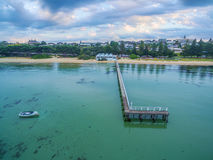 Aerial view of Sorrento Long Pier and The Baths Restaurant at Su Royalty Free Stock Photos
