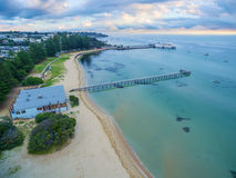 Aerial view of Sorrento Long Pier and moored passenger ferry at Stock Photography