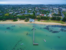 Aerial view of Sorrento Long Pier, suburban houses, and The Bath Stock Image