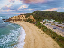 Aerial view of Sorrento Ocean Beach and Coppins Lookout at sunri Royalty Free Stock Images