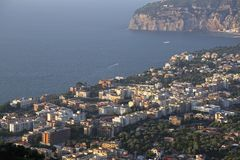 Sorrento Aerial. Aerial View of Sorrento Town Italy in Evening Royalty Free Stock Photography