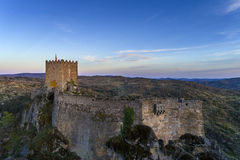 Aerial view of the Sortelha Castle in the historic village of Sortelha, Portugal. Concept for travel in Portugal stock image