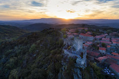 Aerial view of the Sortelha Village and Castle in Portugal at sunset. Concept for travel in Portugal stock photo