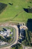 Aerial view : SOS Milk in fields in Francorchamps. Aerial view : SOS Milk written in fields along Francorchamps Circuit in Belgium Stock Photography