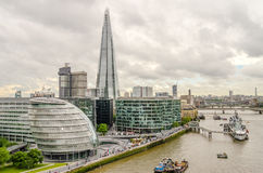 Aerial View of South Bank over the Thames River, London Royalty Free Stock Photography