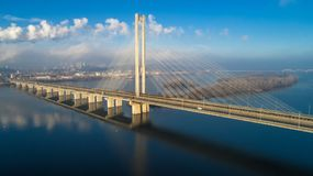 Aerial view of the South Bridge. Aerial view of South subway cable bridge. Kiev, Ukraine. Aerial view of the South Bridge. Aerial view of South subway cable Royalty Free Stock Image