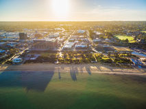 Aerial view of South East Water building in Frankston, Australia. Aerial view of South East Water building and Frankston suburb at sunrise. Melbourne, Victoria Stock Image