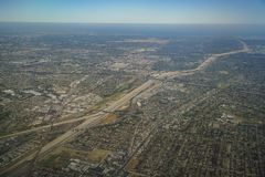 Aerial view of South Gate, view from window seat in an airplane. At California, U.S.A Royalty Free Stock Photos