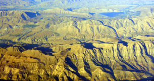 Aerial View of South Iran Mountains and Desert. Royalty Free Stock Image