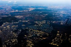 Aerial view of South Korea from airplane stock photo