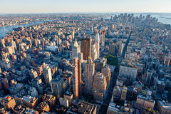 Aerial view of south Manhattan, New York City. Urban photography of Manhattan showcasing New York cityscape and its buildings and skyscrapers from 30th Street Royalty Free Stock Photo