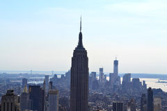 Aerial View of South Manhattan New York, NY royalty free stock image