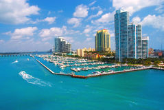Aerial view of South Miami Beach and skycrappers Royalty Free Stock Photos