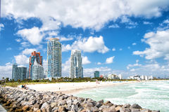 Aerial view of South Miami Beach and skycrappers Stock Photography