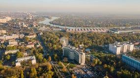 Aerial view of South Russia, Krasnodar Krai, Krasnodar city in 2018 stock photo