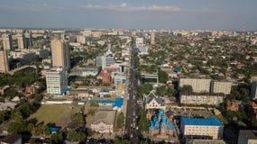Aerial view of South Russia, Krasnodar Krai, Krasnodar city in 2018 stock photography