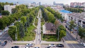 Aerial view of South Russia, Krasnodar Krai, Krasnodar city in 2018 royalty free stock photography