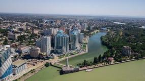 Aerial view of South Russia, Krasnodar Krai, Krasnodar city in 2018 royalty free stock images
