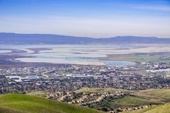 Aerial view of south San Francisco bay area, Milpitas, California royalty free stock photo
