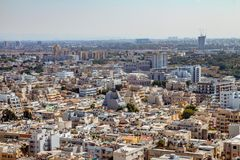 Aerial view of south Tel Aviv neighborhoods cityspace. A combination of new and old construction stock photography