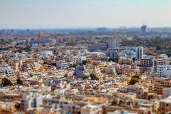 Aerial view of south Tel Aviv neighborhoods cityspace. A combination of new and old construction. Tilt shift stock image