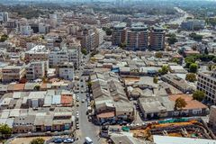 Aerial view of south Tel Aviv neighborhoods cityspace. A combination of new and old construction royalty free stock photography