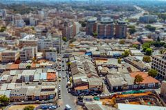 Aerial view of south Tel Aviv neighborhoods cityspace. A combination of new and old construction. Tilt shift stock images