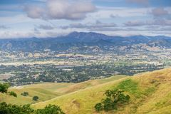 Aerial view of South Valley town as seen from Coyote Lake Harvey Bear Ranch County Park, Loma Prieta in the background, south San. Francisco bay, California stock photography
