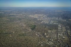Aerial view of South Whittier, view from window seat in an airpl. Ane, California, U.S.A Stock Images