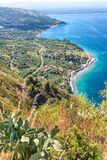 Aerial view of Southern Italy coastline in summer season.  Royalty Free Stock Photo
