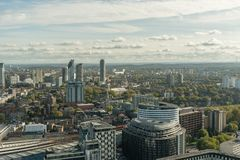 Aerial view of the southern London in late October stock image